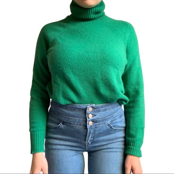 J.Crew green wool turtleneck sweater